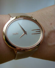 M&M Germany Uhr M11899-993 Lederband taupe OVALTIME ovales Gehäuse rosé Gold