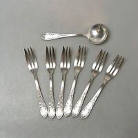 6 x Kuchengabeln 1 x Sahnelöffel Punze Krone M 90 er Silber Auflage versilbert