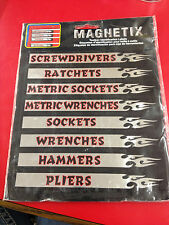 15 Magnet Labels Flames Chrome Tool Box Storage Cabinet Chest Magnetix Chroma