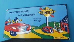 VINTAGE MICKEY MOUSE SUNOCO GASOLINE PORCELAIN GAS AUTO STATION WALT DISNEY SIGN