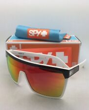 New SPY OPTIC Sunglasses FLYNN Black & White Shield Frame w/Grey Lens+Red Mirror