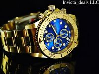 Invicta Men's 44mm Pro Diver Chronograph 18K Gold Plated Blue Dial SS Watch
