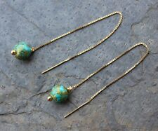 Turquoise & Gold Earrings - Gold-Plated Sterling Silver Threaders, Czech beads