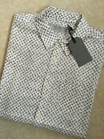 "ALL SAINTS ECRU WHITE ""CARDTRIDGE"" PATTERNED S/S SHIRT TOP - XS S L - NEW & TAGS"