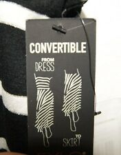 NWT New Fylo by Nylon Convertable Dress Skirt Black White Silver Stripe S