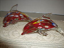 """Murano Millefiori Gold Dust Art Glass Dolphines 5"""" lot of 2"""