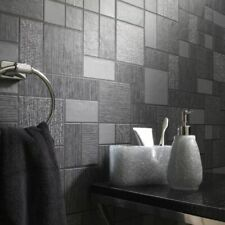 Black & Grey With Glitter Tile Wallpaper Kitchen and Bathroom Tiling on a Roll