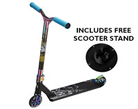 Ultimate Pro X Stunt Scooter Black and Neochrome Oil Slick Rainbow and Stand