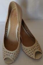 Jasper Conran Ladies Leather Ivory Peep Toe Occasion Heel Shoe EU 40 UK Size 7