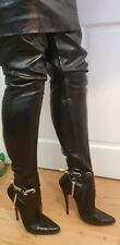Fetish vintage leather crotch thigh boots stiletto high heel 8 uk brass spurs