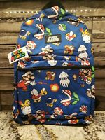 "Nintendo Super Mario Bros. All Over Print 16"" Backpack School Book Bag **NEW**"