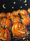 Vintage Halloween Tablecloth NOS Cotton Pumpkins jack-o'-lantern Moons Orange