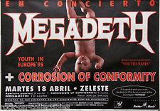 Megadeth 1995 European Youthanasia Tour Barcelona, Spain Original Concert Poster