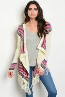 Misses Ivory and Pink Sweater Cardigan with Fringe SZ Medium Large NWT