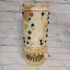 Very Old Marble Glass and Metal Candle Holder with Dome