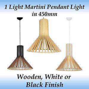 1 Light Martini 450mm Pendant Light in Wooden, Black or White Finish