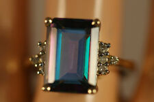 HEAVY WIDE 14K SOLID YELLOW GOLD 7.86CTW EMERALD MYSTIC TOPAZ DIAMOND RING 14KT