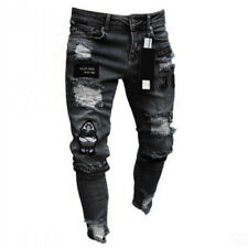All Waists Mens Skinny Stretch ripped Jeans Slim Fit Flex Denim Trousers Pants