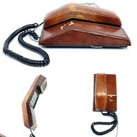 Vintage Telephone Leather Northern Telecom Contempra Brown 1970's Retro Decor