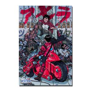 Akira Red Fighting Japan Anime Silk Fabric Poster Wall Art Print 12x18 24x36