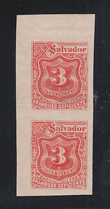 Salvador Sc J19 MLH. 1896 3c Postage Due, imperf Sheet Corner Pair, VF