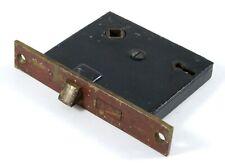 "Antique Mortise Door Lock & Latch Reversible Brass Cast Case 2 3/8"" Backset"