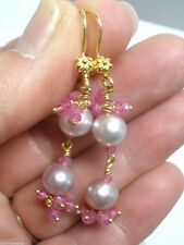 Pink Sapphire and Biwa Pearl Dangle Earrings, Gold Vermeil over Sterling Silver