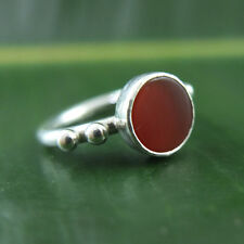 Handmade Turkish Designer Round Band Carnelian Eye Ring Sterling Silver