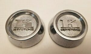 2 VINTAGE KEYSTONE CHROME RIM MAG WHEEL CENTER CAPS ORIGINAL NICE