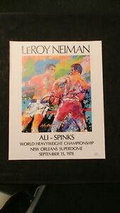 VERY RARE Leroy Neiman Poster Autographed By Leon Spinks WITH JSA COA INCLUDED!