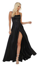 FORMAL WAIST HIGH SLIT EVENING PROM DRESSES SPECIAL OCCASION  SATIN PAGEANT GOWN