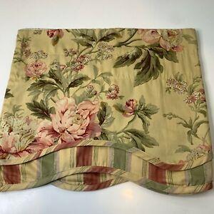 waverly curtain valance cream pink floral design scalloped edge rod pocket