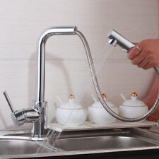 2 Function Way Pull Out Spout Swivel Kitchen Sink Mixer Faucet Single Lever Taps