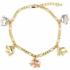 "14k Gold Plated 3Tone Lucky Elephant Charms Versatile Figaro Bracelet Anklet 10"""