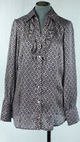 BENETTON Geometric Print Front Ruffle Purple Satin Shirt size XS UK 6 / 8