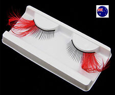Long Red Black Costume Feather Exaggerated Party Fake False Eyelashes Eye lashes