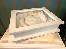 GREEK ORTHODOX WOODEN STEFANA  WEDDING CROWNS DISPLAY KEEPSAKE BOX WHITE/ IVORY