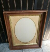 Fabulous Antique Vintage Deep Wood Picture Frame Holds 10x13 Gold Accent