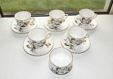 St Louis Finest Bone China England Staffordshire 5 x  Coffee Cup & Saucer Sugar