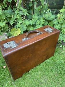 Antique Leather Suitcase Edwardian Fitted Large Case
