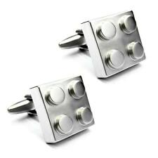 BUILDING BLOCK CUFFLINKS Novelty Toy Brick Silver Tone Metal NEW w GIFT BAG