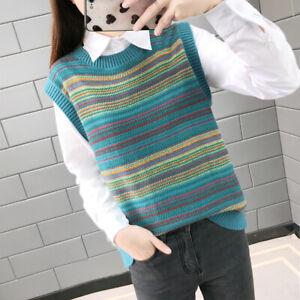 Women Stripe Knitted Vest Jumper Tank Top Sweater Waistcoat Casual Vintage Style