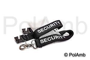Black SECURITY Guard Lanyard with ID Holder Badge Card Doorman Armband SIA