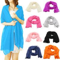 EB_ Women's Long Wrap Lady Shawl Solid Color Elegant Chiffon Scarf Scarves Graci