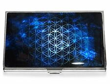 Business Credit Card Case Metal ID Holder MOTHER OF PEARL Flower of Life Blue