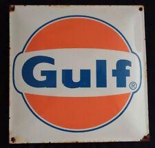VINTAGE GULF GASOLINE / MOTOR OIL PORCELAIN GAS PUMP SIGN