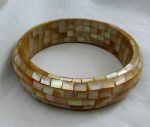 Abalone Shell Bangle Bracelet - Yellow/Gold
