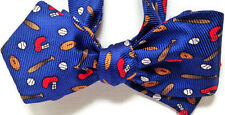 """Men's Silk Bow Tie """"Ball Game""""-One-of-a-Kind, Handmade, Adjustable, Self-tie"""