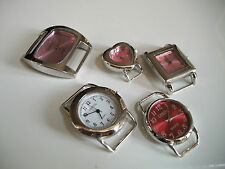 SET OF 5 SILVER  FINISH COLOR DIAL WATCH FACES FOR BEADING,RIBBON OR OTHER USE