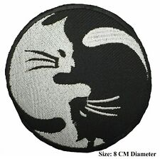 Ying and Yang Cat Patch Embroidered Badge Embroidery Applique Iron Sew On Cloth